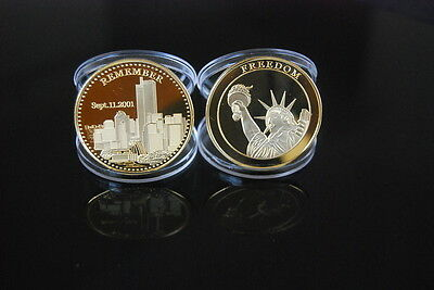 Never Forget September 9/11 New York Twin Towers Usa America 1 Ounce Plated Coin