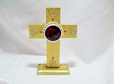 18 Kt Gold Painted Wooden Cross Reliquary Display Red Rhinestones