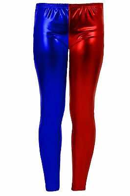 Girls Red & Blue Metallic Leggings Shiny Red Blue Shiny Halloween Costume Comics