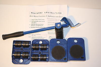 Furniture Lifter Mover Lift&move Jack System New-5Pc Set Lifts Up To 220 Lbs Nib