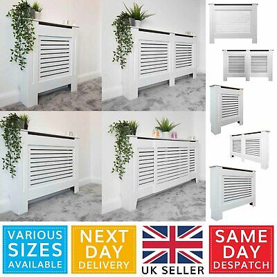 White Painted Modern MDF Wood Radiator Cover Cabinet - Horizontal Slatted Grill