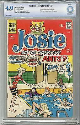JOSIE and the PUSSYCATS #45 CBCS 4.0 OW/WHITE Pgs (Not CGC) 1st app of the Band
