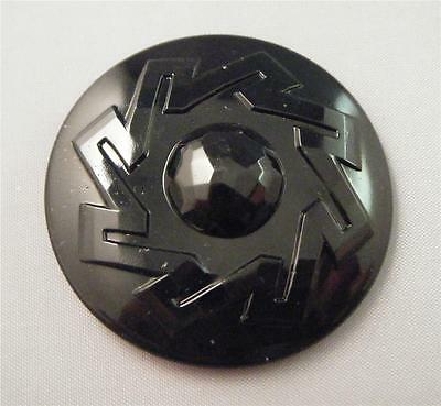 Vintage Black Mourning Czech Glass Faceted Art Deco Hat Head Pin Top 45mm Button
