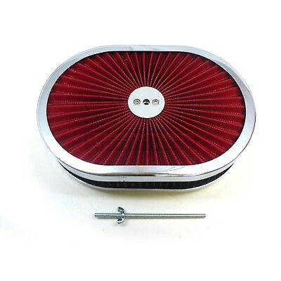 "12"" x 2"" Super flow Steel Red Washable Filter Element Oval Air Cleaner"