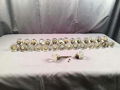 AntQ Lot of 15 Matching Crystal & Brass Hardware Door Knobs