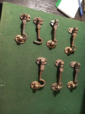 "Antique Brass Gate Cabin Door Clasp Hasp Hook The Real Deal (BY1) 4"" And 3-1/2"""