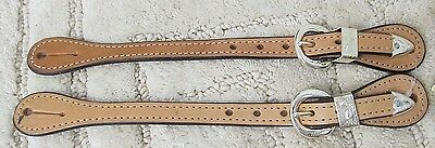 New Engraved Silver and Light Oil Leather Western Show Adult Spur Straps