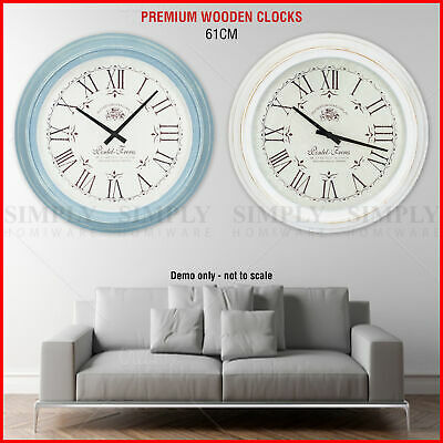 Wall Clock Large Vintage Retro Wooden Roman Numerals Shabby Chic Silent 61cm