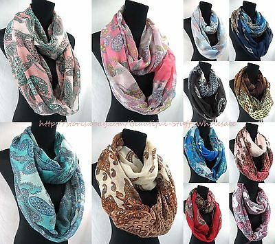 US SELLER-lot of 10 infinity women's fashion vintage paisley infinity scarf