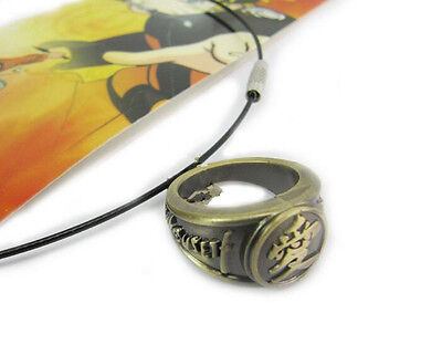 Naruto Gaara's Love Symbol Ring Metal Charm Necklace Cosplay Anime Fans Gifts