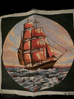 Tapestry Canvas W 826 Vintage Sailing  Tall Ship