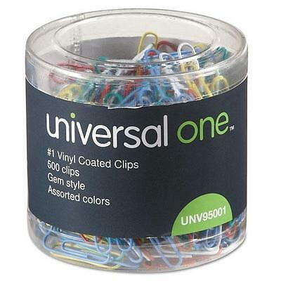 Universal 95001 Paper Clips, Vinyl Coated Wire, No. 1, Assorted Colors, 500/Pack