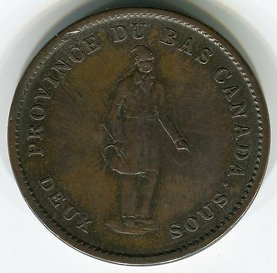 Canada/Lower Canada, 1837: 2 Sous (Penny) Bank Token, Copper,
