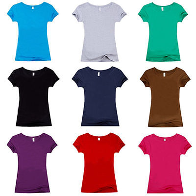 Classic Top Short Sleeve Plain T-Shirt Solid Tee Casual Women Blouse Dress DL