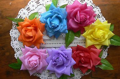 TROPICAL BRIGHT Fabric ROSE & Leaf Ea - 7Colours 14cm Njoyfull Crafts MultiList