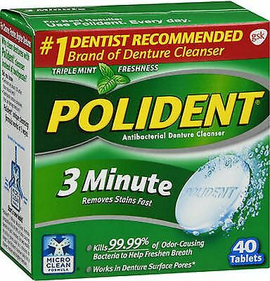 Polident 3 MINUTE Denture Tablets Triple Mint, 40 ct***