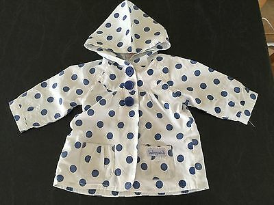 Pumpkin Patch White Blue Spotted Lightweight Hooded Jacket Size 00