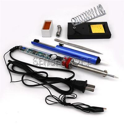 9 in 1 Electric Soldering Iron Starter Tool Kit Set With Iron Stand Solder New