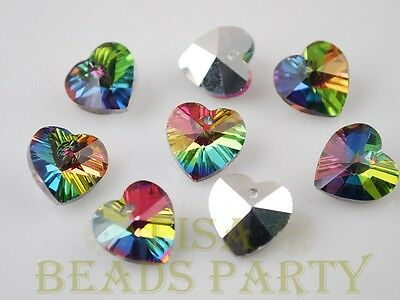 New 10pcs 14X8mm Heart Faceted Glass Pendant Loose Spacer Beads Bulk Colorful