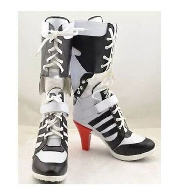 UK Suicide Squad Costume Fancy Dress Shoes Harley Quinn Highheels Boots Cosplay