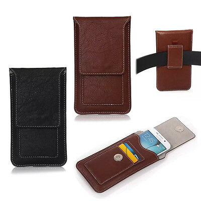 Universal Flip Leather Phones Holster Case Wallet Card Waist Bag Pouch Belt Clip