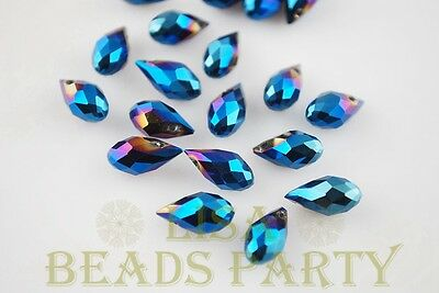 New 20pcs 12x6mm Teardrop Faceted Glass Pendant Loose Spacer Beads Blue Plated