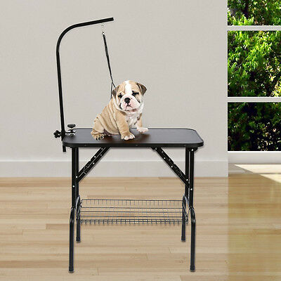 Dog Pet Folding Grooming Table Adjustable Arm Non Slip Surface with Mesh Tray