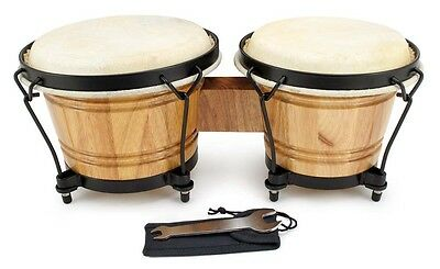 New in Box Pair of Oak Bongo Drums Hand Percussion Drum Set - 7372