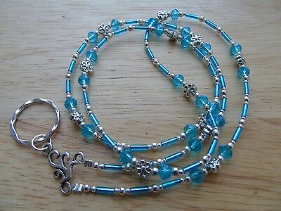 Handmade Beaded Spectacle / Glasses Chain Holder / Necklace. Turquoise