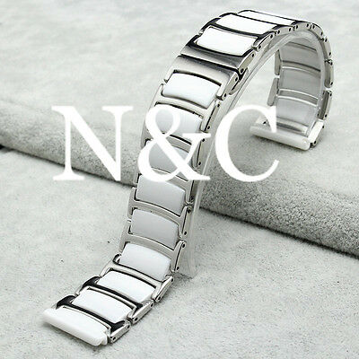 20mm White Stainless Steel with Ceramic Smart Watch Band Strap Link Bracelet