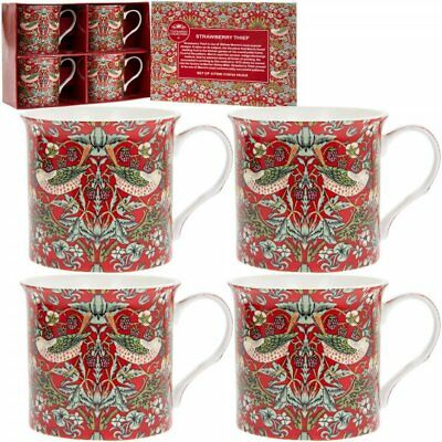 William Morris Strawberry Thief Set of 4 Bone China Mugs / Cup in Gift Box - Red