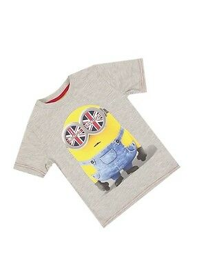 Official Licensed Boys or Girls Grey Minions Invasion Print Kids T-shirt Top