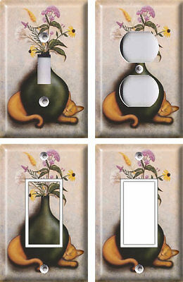Cat and Vase 2 - Light Switch Covers Home Decor Outlet