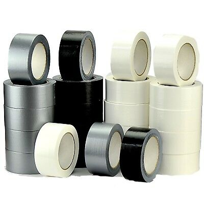 1 2 3 6 12 WATERPROOF DUCK DUCT GAFFER GAFFA BLACK WHITE SILVER 48MM x 45M CLOTH