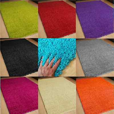 Heavy Duty Non Slip Shaggy Rugs Mat Large Small Room Hallway Kitchen Size Colour
