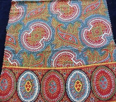 Antique c1820 Hand Blocked & Resist Dyed French Bandana Printed Fabric~Quilters
