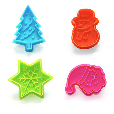 Spring Push Plastic Plunger Christmas Cookie & Pastry Cutters / Icing Moulds X 4