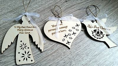 3 x wooden Christmas personalised hearts decoration tree ornaments Angel bird