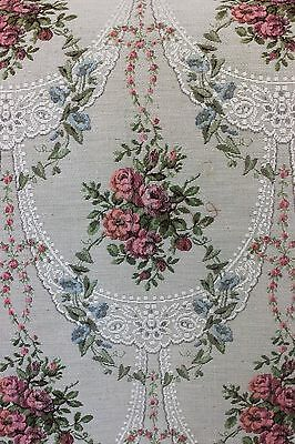 "Rose & Lace Romantic French Tapestry Fabric Woven Jacquard c1920~1 yd 8""LX25""W"