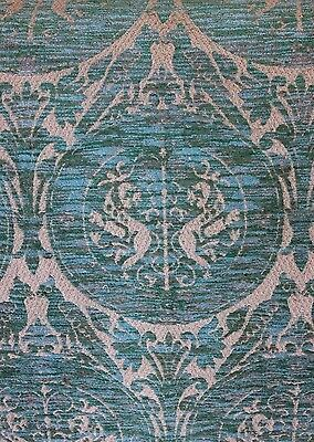 Vintage Woven Home Decor Bird & Frame Cut Velvet Fabric~Renaissance Design c1920