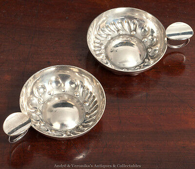 Pair: Silver Plated WINE TASTERS Bowls Lutz Dijon France Vintage Tasting Scoops