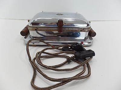 Superior Electric SuperLectric 105 Chrome Waffle Iron Maker Cloth Cord 19 Vtg