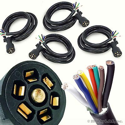 10ft foot 7 way trailer cord wire harness light plug connector 4 trailer wire harness light plug connector 7 way cord molded rv cable 10ft foot