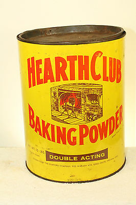 Antique Large Hearth Club Baking Powder Tin Can Terre Haute Ind 9''