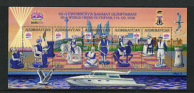 Azerbaijan 2016 MNH 42nd World Chess Olympiad Baku 5v M/S Chess Pieces Stamps