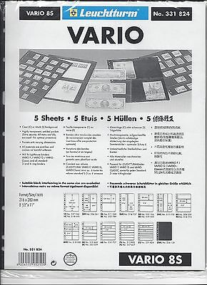 New Vario Stock Sheets 8S Two-Sided Eight Horizontal Pockets Black Pkg. 5