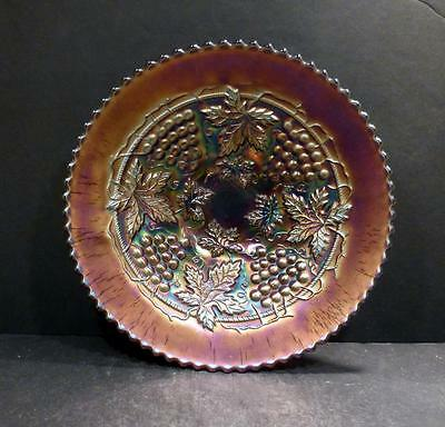 "Northwood Carnival Grape and Cable Amethyst Bowl - 8 3/4""- MINT"