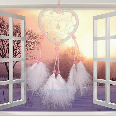 Handmade Heart Shaped Dream Catcher with Feather Home Car Hanging Decor Ornament
