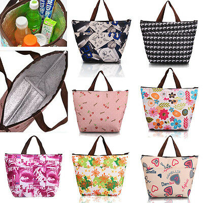 Waterproof Cherry Picnic Lunch Bag Tote Insulated Cooler Travel Zipper Organizer