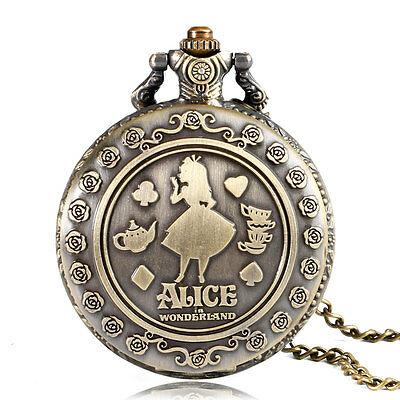 Classic Alice In Wonderland Necklace Quartz Pocket Watch Women Cute Xmas Gift